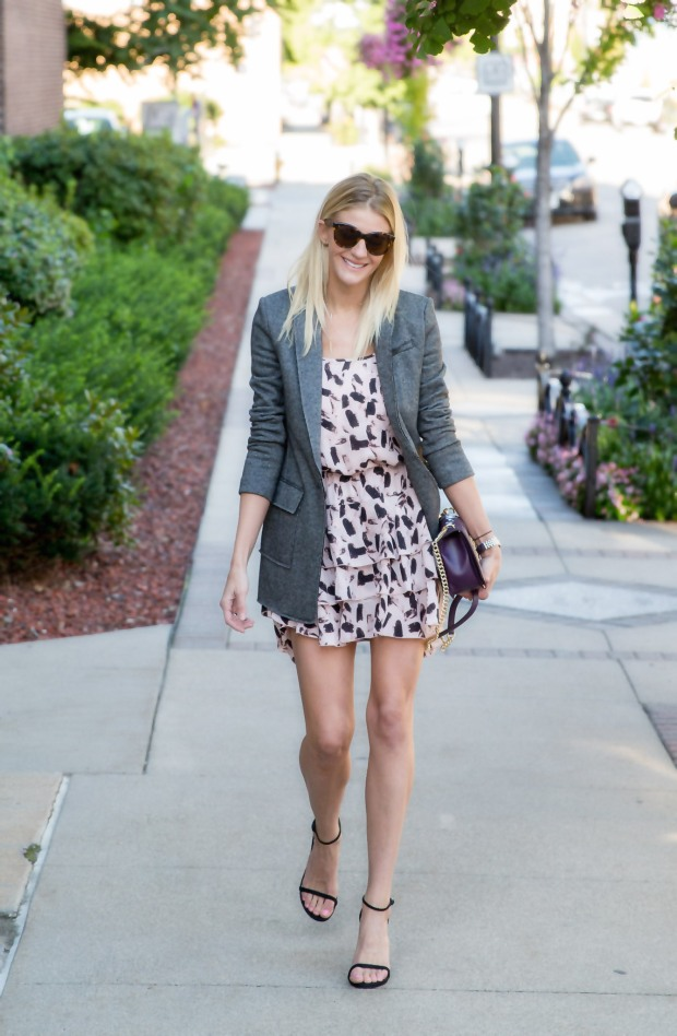 Top a Flirty Dress with a Boyfriend Blazer