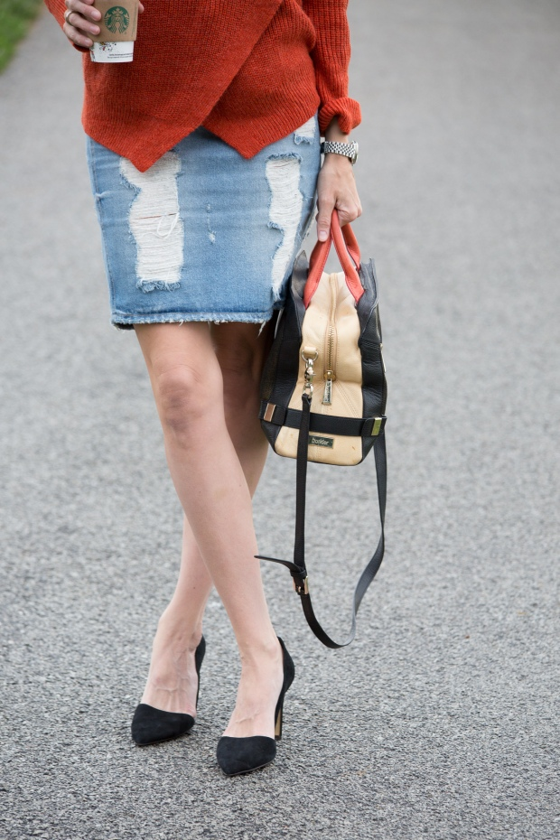 Sweater, Distressed Denim and Color-blocked Bag